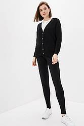 Повседневный вязаный костюм крупной вязкой. Размер 42-44, 46-48. Черный. 50% хлопок/ 50% акрил
