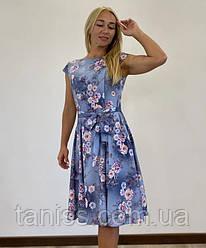 """Жіноче літнє плаття міді """"Сільвія """",тканина софт, розміри 46, 48, 50, 52, 54 , синє ,сукня"""