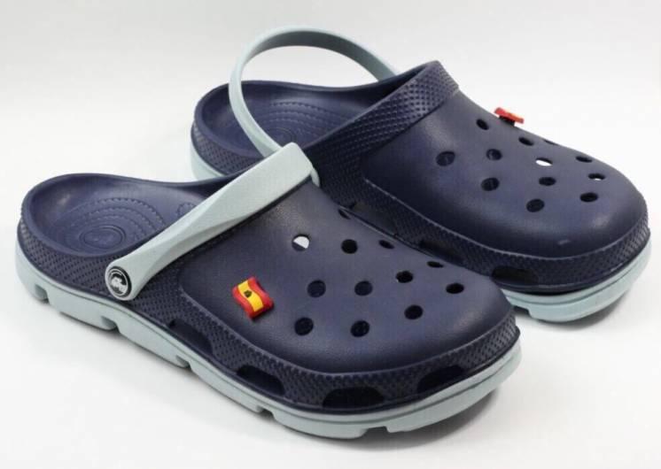 Легкие кроксы сабо из пены, шлепанцы синие с серым.