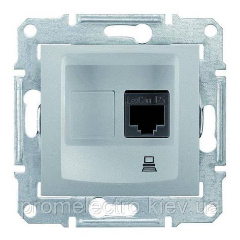 Розетка Schneider-Electric Sedna комп'ютерна UTP кат. 5е алюміній (SDN4300160), фото 2