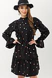 Платье свободное с воланами черное в горох Лесса, фото 2