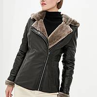 Дубленка куртка зимняя VK черная с капюшоном (Арт. LA102)