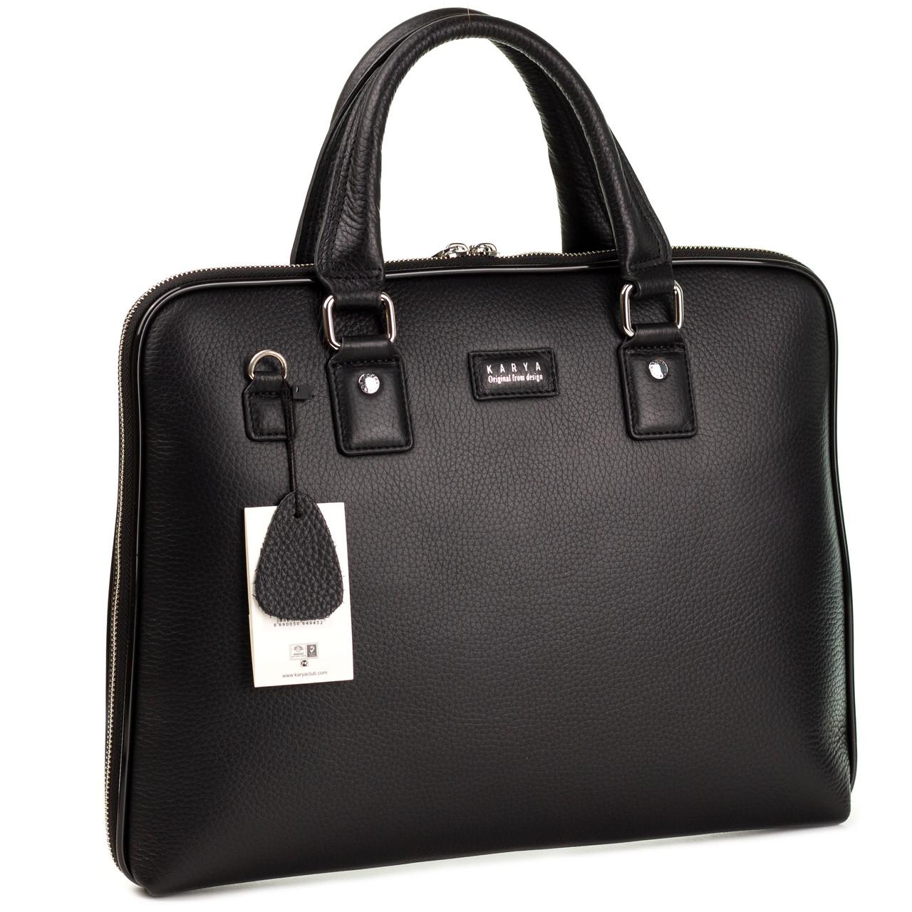Чоловічий портфель сумка Karya 0649-45 з м'якої шкіри чорний