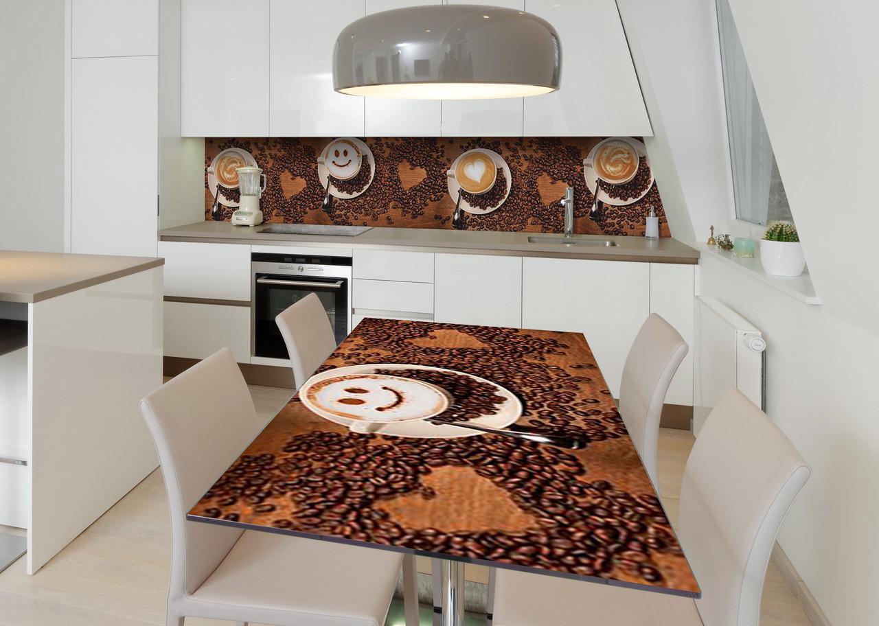 Наклейка 3Д виниловая на стол Zatarga «Кофейная улыбка» 650х1200 мм для домов, квартир, столов, кофейн, кафе