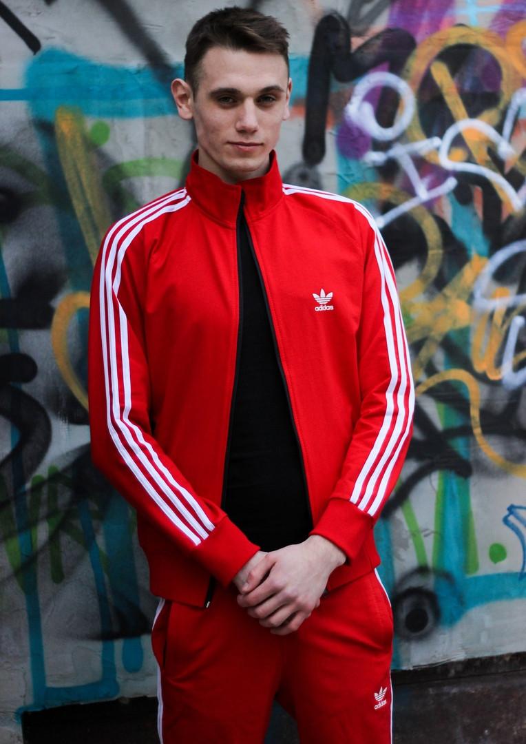 Чоловічий червоний спортивний костюм Adidas