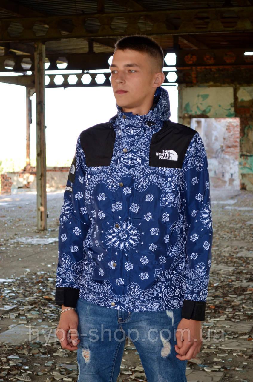 Мужская ветровка Supreme The North Face bandana blue куртка суприм тнф tnf