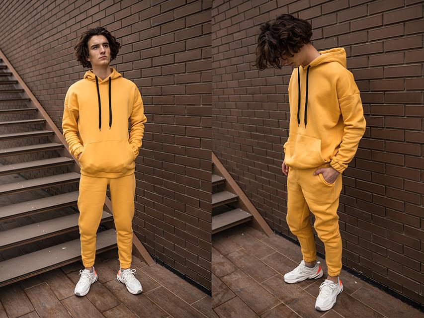 Чоловічий жовтий спортивний костюм Оверсайз