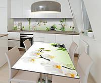 Наклейка 3Д виниловая на стол Zatarga «Ароматы в саду орхидей» 650х1200 мм для домов, квартир, столов, кофейн,