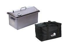 Коптильня 520 х 300 х 310 крышкой домиком с термометром из стали и сумкой для перевозки