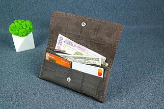 """Жіночий шкіряний гаманець """"Флай"""", Шкіра Італійський краст колір Кава, тиснення №2, фото 3"""
