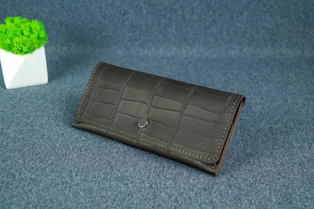 """Жіночий шкіряний гаманець """"Флай"""", Шкіра Італійський краст колір Кава, тиснення №2, фото 2"""
