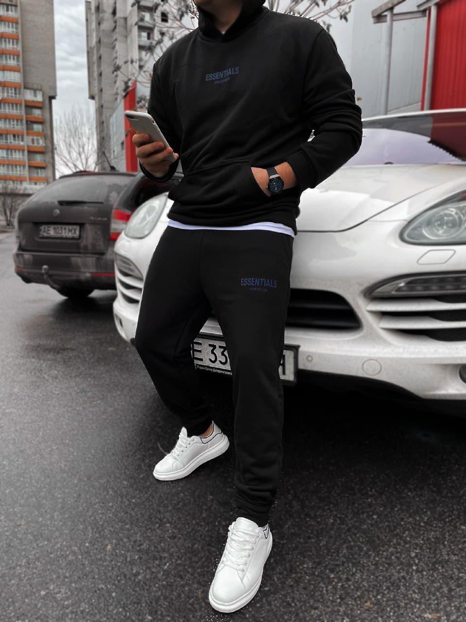 Мужской черный спортивный костюм Essentials