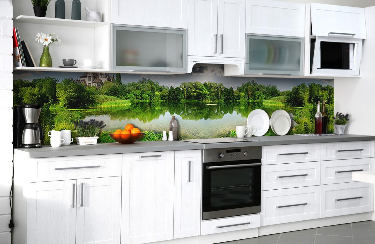 Скинали на кухню Zatarga «Тихие заводи» 600х3000 мм виниловая 3Д наклейка кухонный фартук самоклеящаяся