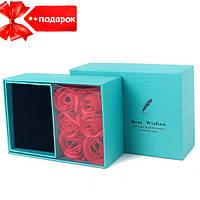 Подарочный набор розы из мыла 6 роз Best Wishes (голубая коробка) + Подарок
