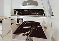 Наклейка 3Д виниловая на стол Zatarga «Плавающий вензель» 600х1200 мм для домов, квартир, столов, кофейн, кафе