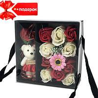 Подарочный набор роз из мыла с Мишкой XY19-79 + Подарок