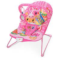 Шезлонг детский 303-8 (1шт) муз, вибро, дуга с подвесками (3 шт), в кор-ке, розовый