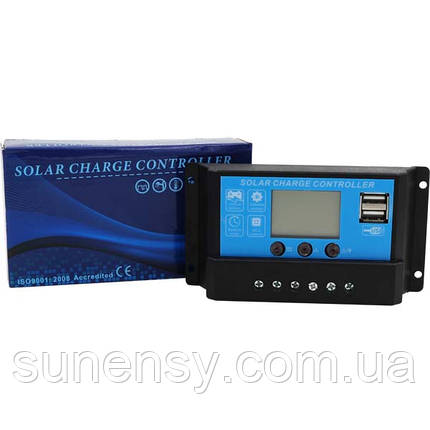 Контроллер 20А 12В/24В с дисплеем + USB гнездо (Модель-DY2024), JUTA, фото 2