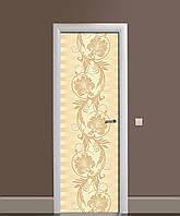 Наліпка на двері Zatarga «Пір'я жар-птиці» 650х2000 мм вінілова 3Д Наліпка декор самоклеюча