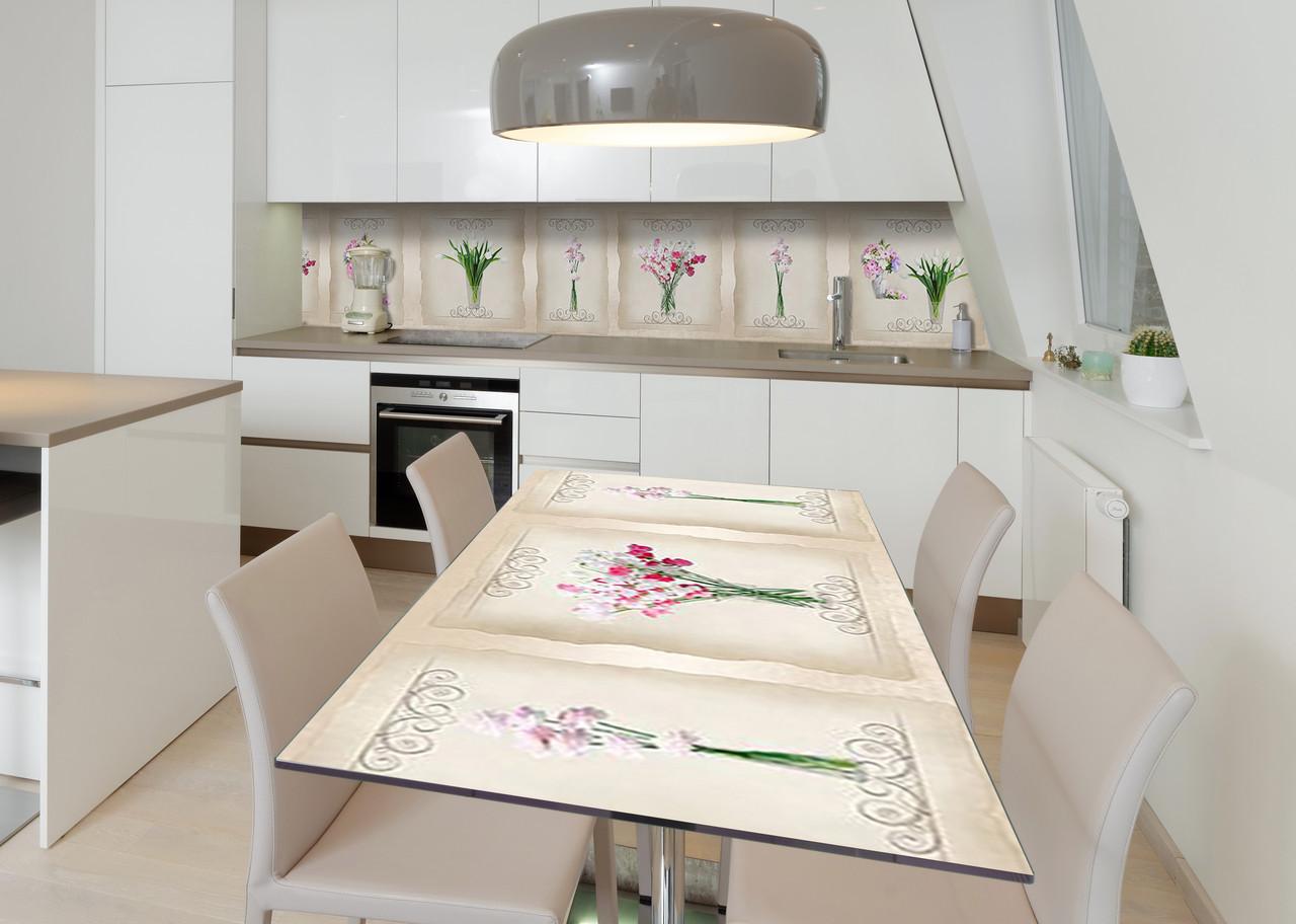 Наліпка 3Д виниловая на стол Zatarga «Милые букеты» 650х1200 мм для домов, квартир, столов, кофейн, кафе