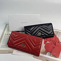Женский кожаный кошелек на кнопке Gucci Marmont Гуччи реплика