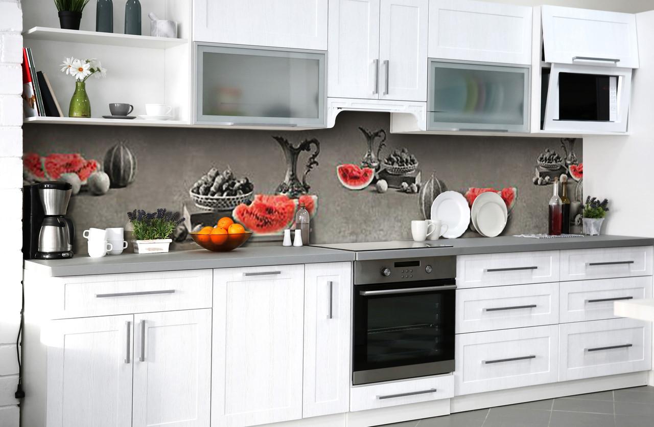 Скинали на кухню Zatarga «Сочный арбуз» 650х2500 мм виниловая 3Д наклейка кухонный фартук самоклеящаяся