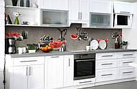 Скинали на кухню Zatarga «Сочный арбуз» 650х2500 мм виниловая 3Д наклейка кухонный фартук самоклеящаяся, фото 1
