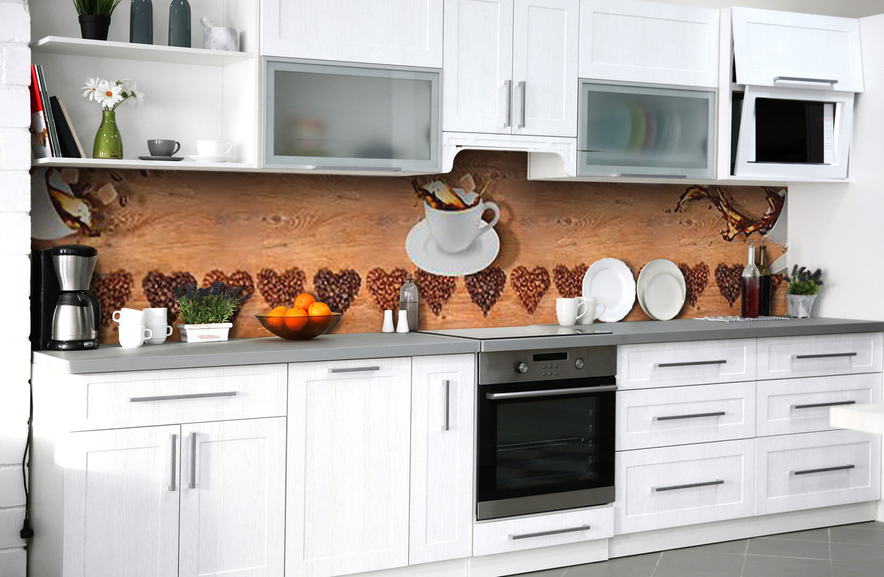 Скинали на кухню Zatarga «Чашка любимого напитка» 600х3000 мм виниловая 3Д наклейка кухонный фартук