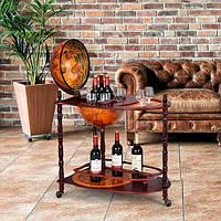 Глобус бар напольный со столиком коричневый 71*45*89 см