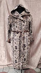 Махровый Мужской халат длинный на запах с капюшоном принт Доллар Евро Большого размера