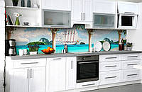 Скинали на кухню Zatarga «Испанский парусник» 600х3000 мм виниловая 3Д наклейка кухонный фартук самоклеящаяся, фото 1