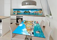Наклейка 3Д виниловая на стол Zatarga «Чары Италии» 600х1200 мм для домов, квартир, столов, кофейн, кафе
