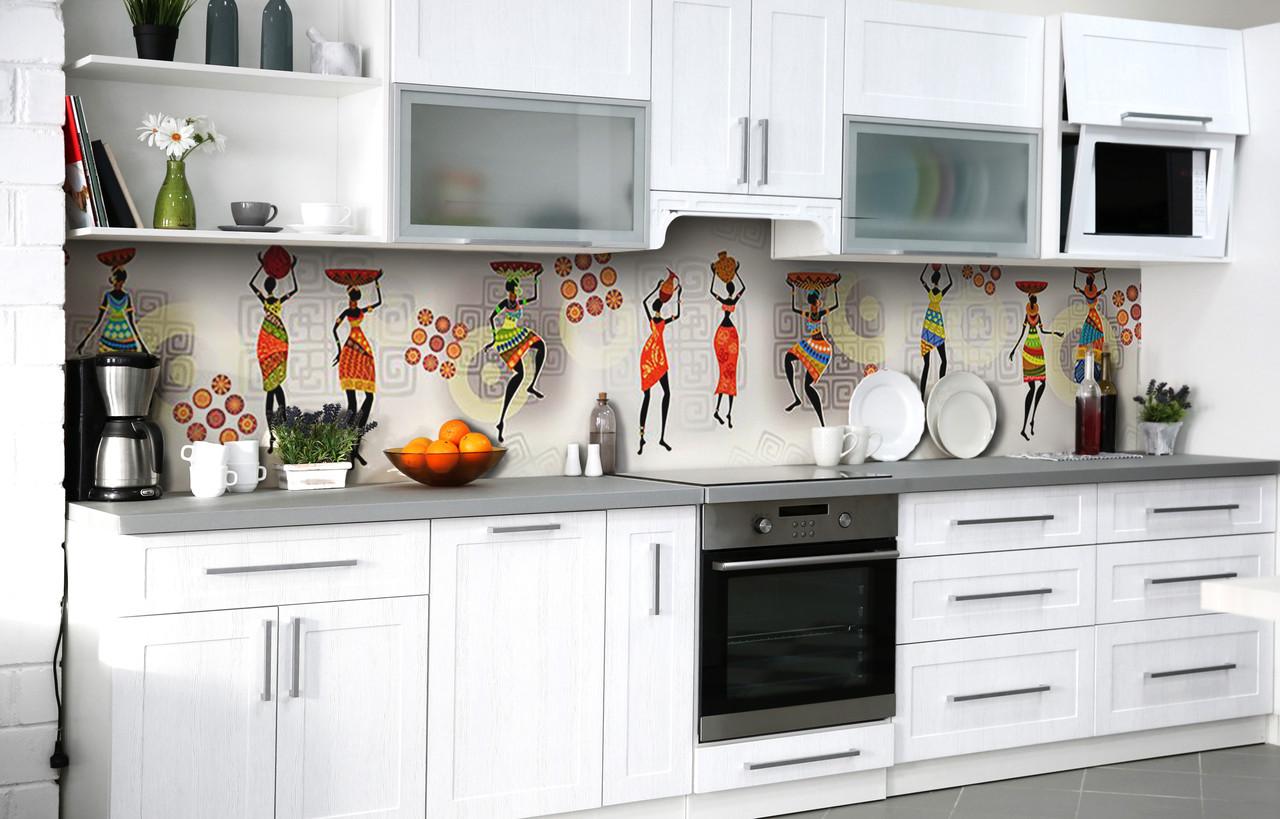 Скинали на кухню Zatarga «Африканские девушки» 650х2500 мм виниловая 3Д наклейка кухонный фартук самоклеящаяся