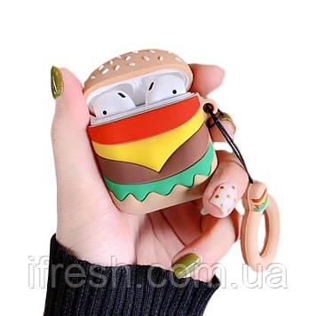 Чехол для Apple AirPods, силикон, Burger