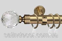 Карниз для штор металевий ЛЮМІЄРА однорядний діаметр 35 мм 1.6 м Античне золото