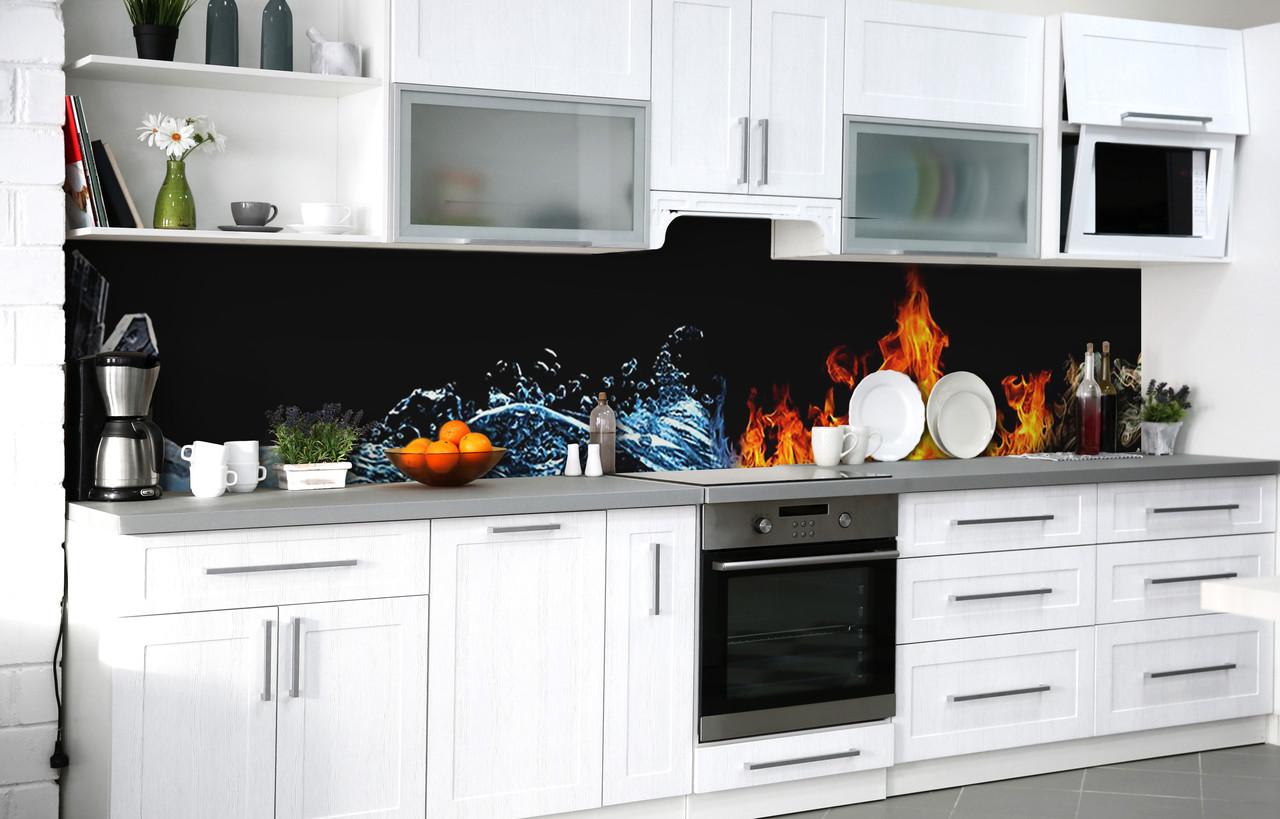 Скинали на кухню Zatarga «Лёд и пламя» 600х3000 мм виниловая 3Д наклейка кухонный фартук самоклеящаяся