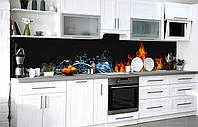 Скинали на кухню Zatarga «Лёд и пламя» 600х3000 мм виниловая 3Д наклейка кухонный фартук самоклеящаяся, фото 1