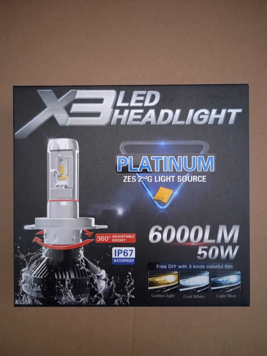 Автомобильная LED лампа X3 H7  HeadLight      1 шт.