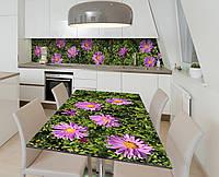 Наклейка 3Д виниловая на стол Zatarga «Садовые цветы» 650х1200 мм для домов, квартир, столов, кофейн, кафе