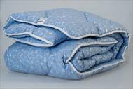 """Одеяло  зимнее """"Бизе"""" голубое 200Х220 шерсть в тике ТМ """"Міцний сон"""" Украина (Львов)"""