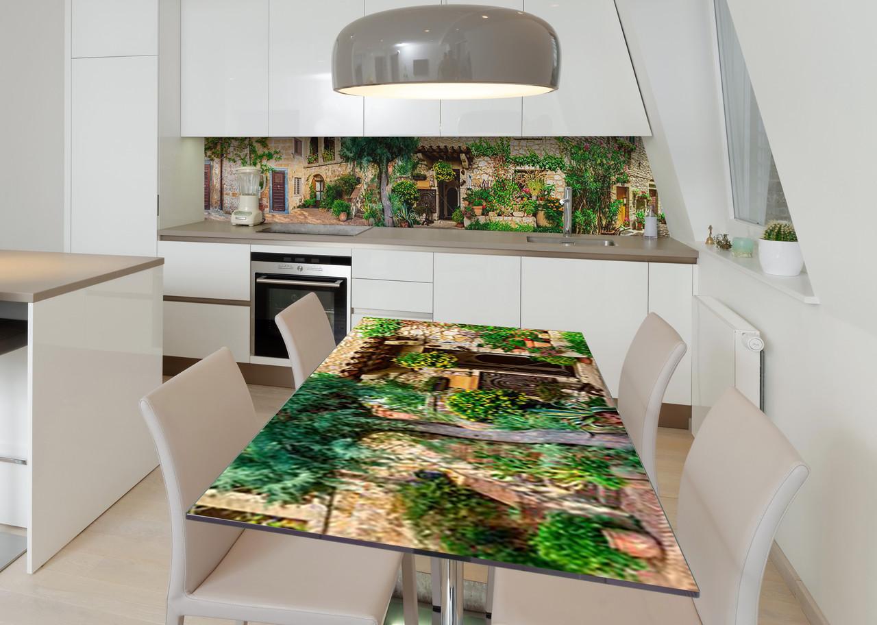 Наклейка 3Д виниловая на стол Zatarga «Дворик Вероны» 650х1200 мм для домов, квартир, столов, кофейн, кафе