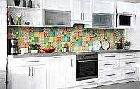 Скинали на кухню Zatarga «Печворк» 600х3000 мм виниловая 3Д наклейка кухонный фартук самоклеящаяся, фото 1