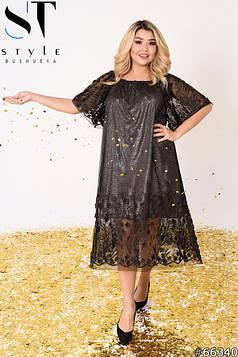 Вечірня сукня | Сітка з вишивкою і об'ємними квіточками / підкладка -трікотаж блискуче | чорний | р-р 3