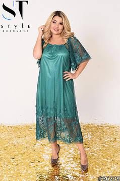 Вечірня сукня | Сітка з вишивкою і об'ємними квіточками / підкладка -трікотаж блискуче | Зелений | р-р 3