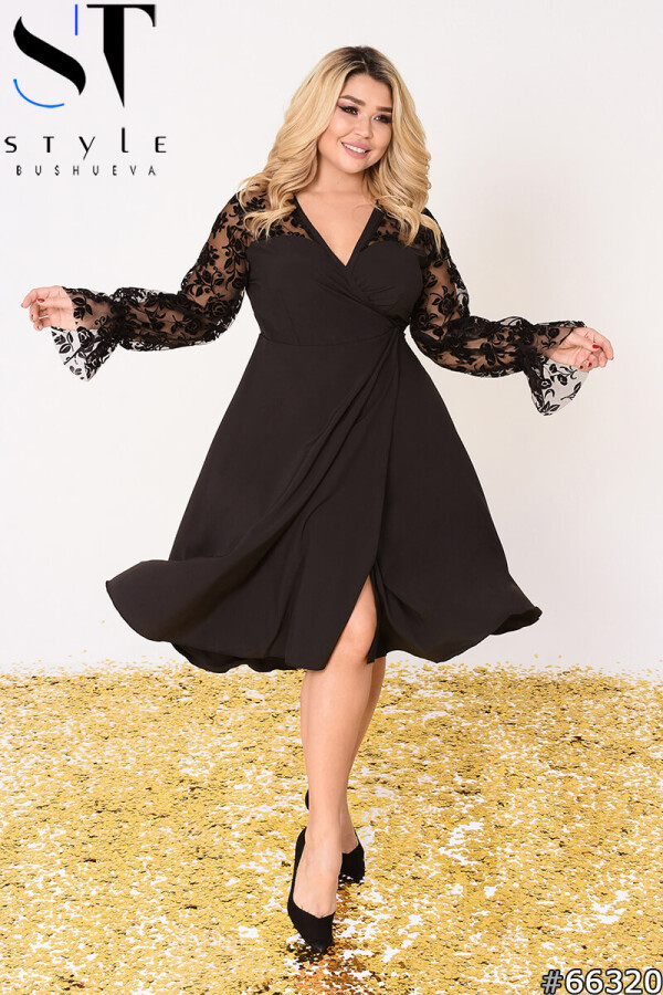Вечірня сукня   Софт + сітка з флоком   чорний   р-р 48-52,54-58,60-64 (4)