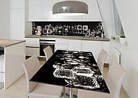 Наклейка 3Д виниловая на стол Zatarga «Лёд и кристаллы» 600х1200 мм для домов, квартир, столов, кофейн, кафе