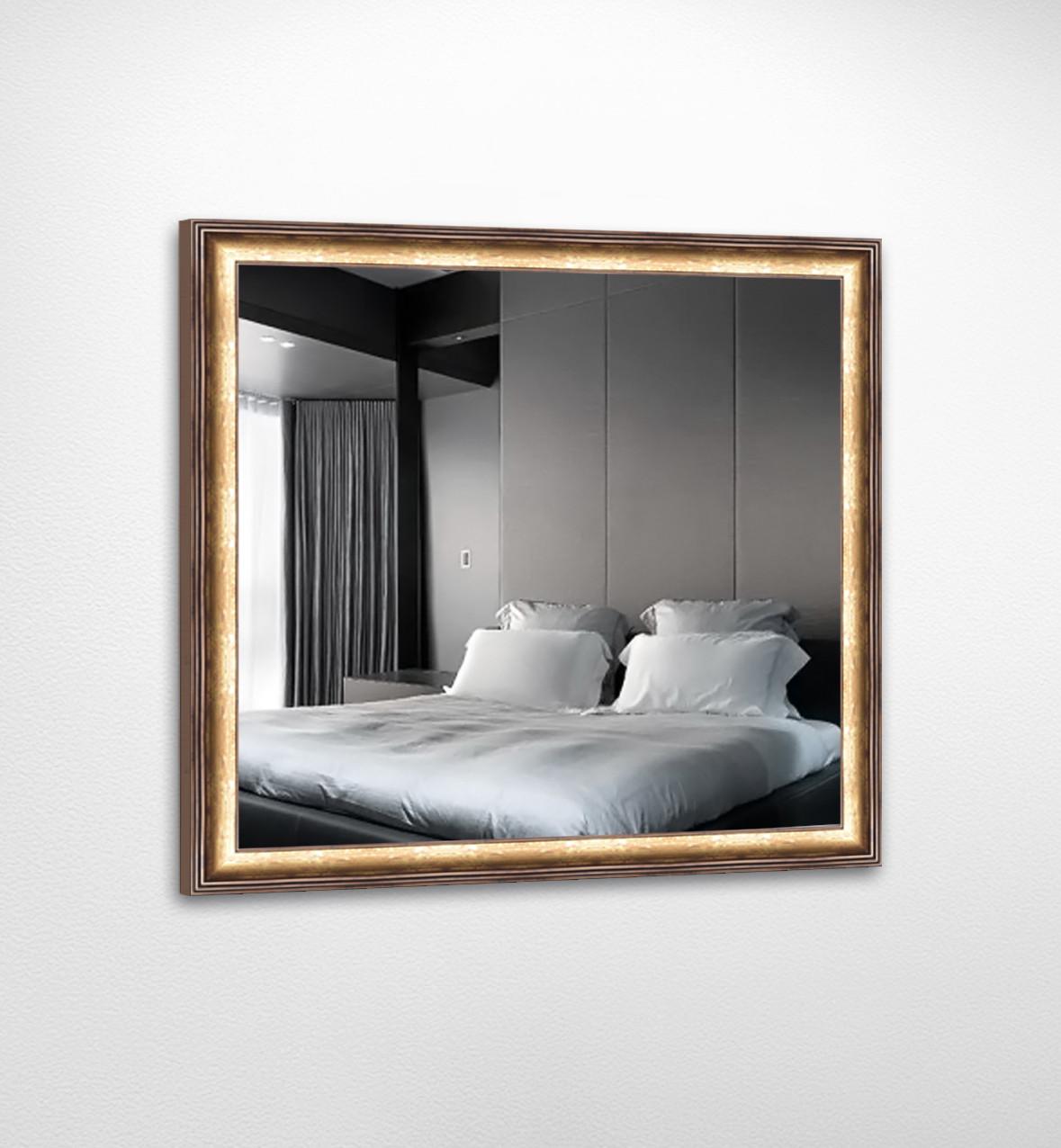 Настенное зеркало БЦ Стол Эрика квадратное B03 золотое