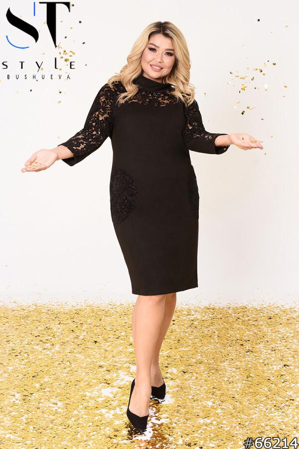 Вечернее платье | Костюмная диагональ/ гипюр с бархатом | черный |р-р 50-52,54-56,58-60
