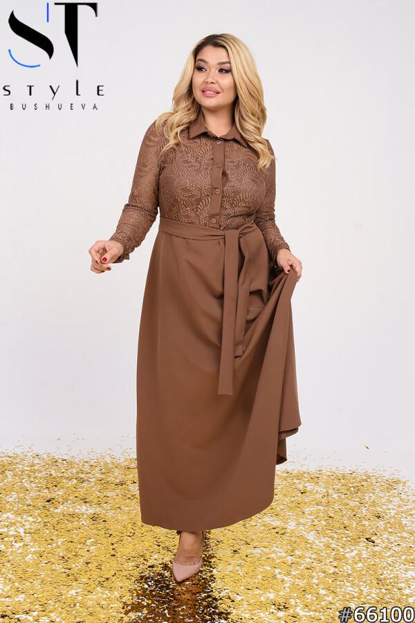 Вечернее платье   Гипюр+подкладка(трикотаж)+креп-костюм   мокко  р-р 50,52,54,56,58,60,62,64
