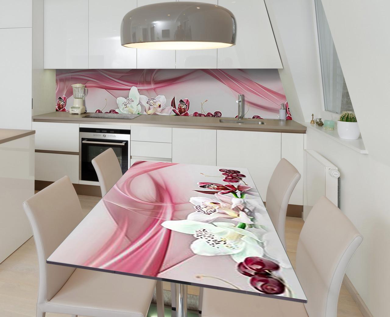 Наклейка 3Д виниловая на стол Zatarga «Черешневые орхидеи» 650х1200 мм для домов, квартир, столов, кофейн,